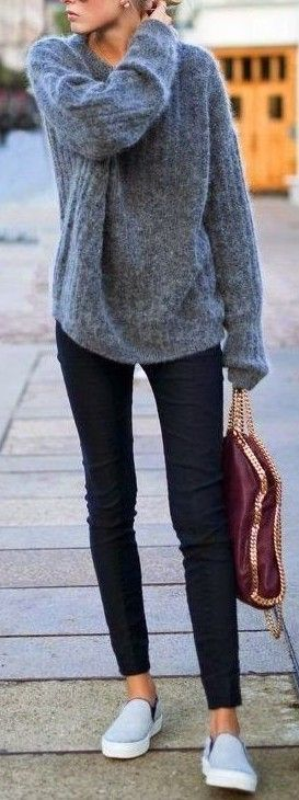 #fall #outfits / Grey Long Sleeve - Burgundy Purse