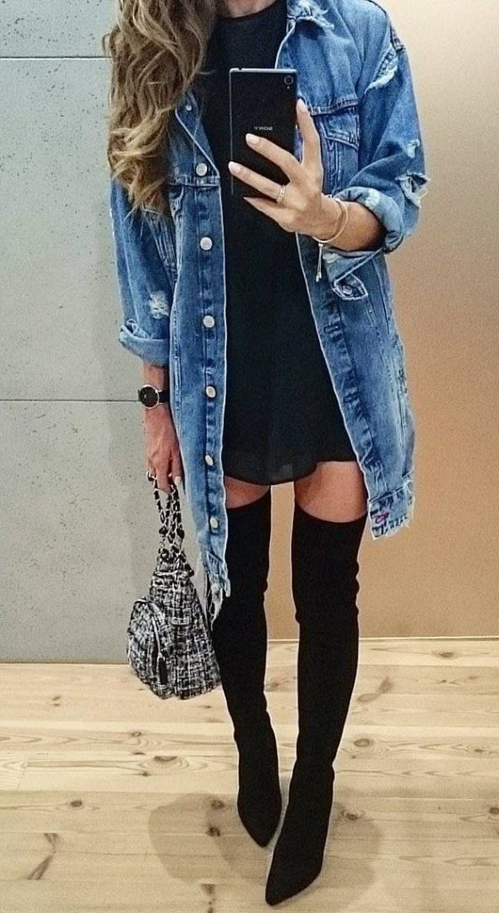 #fall #outfits / Denim Jacket - Black Tall Boots
