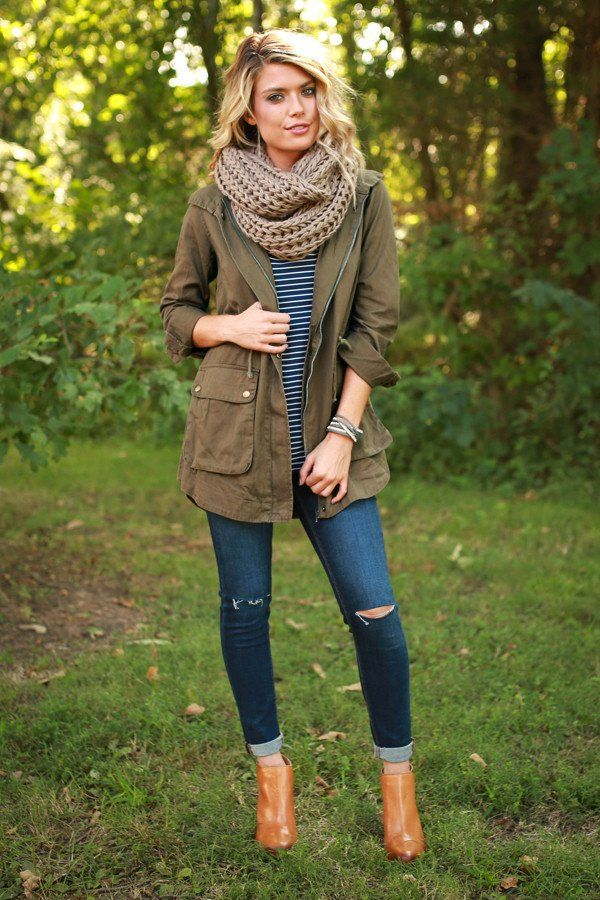 #fall #outfits / Green Olive Jacket - Beige Knitted Scarf