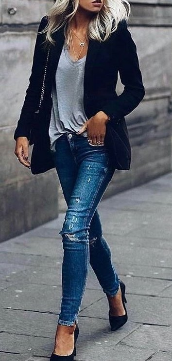 #fall #outfits / Black Jacket - Denim