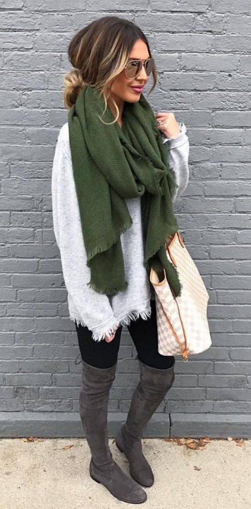 #fall #outfits / Green Over Size Scarf - Grey Tall Boots