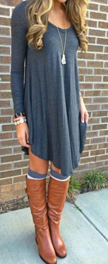 #fall #outfits / Tall Boots - Long Sleeve Dress