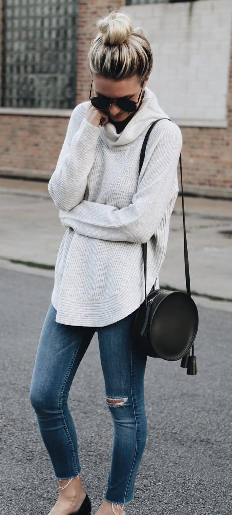 #fall #outfits / White Turtle Neck - Denim