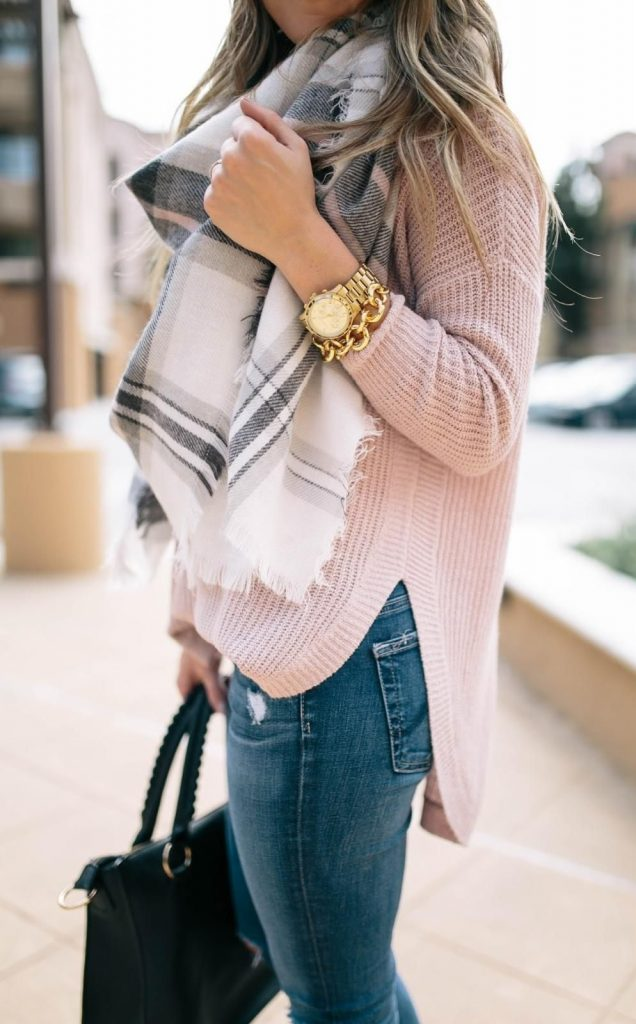 #fall #outfits / White Plaid Scarf - Light Salmon Long Sleeve