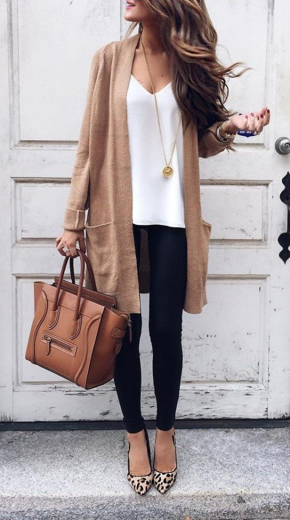 #fall #outfits / Beige Cardigan - White Top