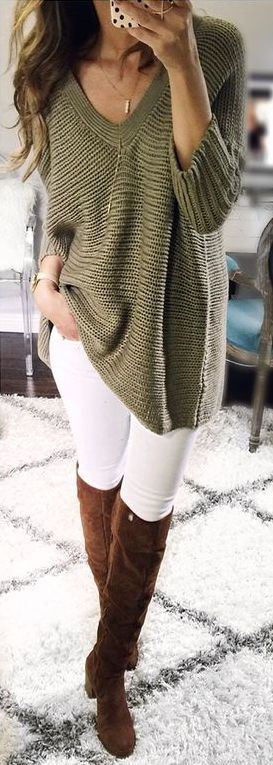 #fall #outfits / Printed Cardigan - Tall Boots