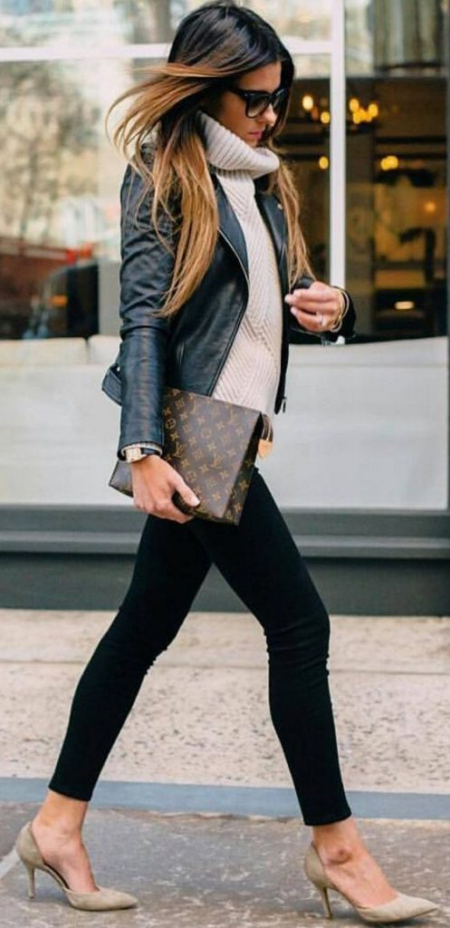 #fall #outfits / Black Leather Jacket - White Turtle Neck