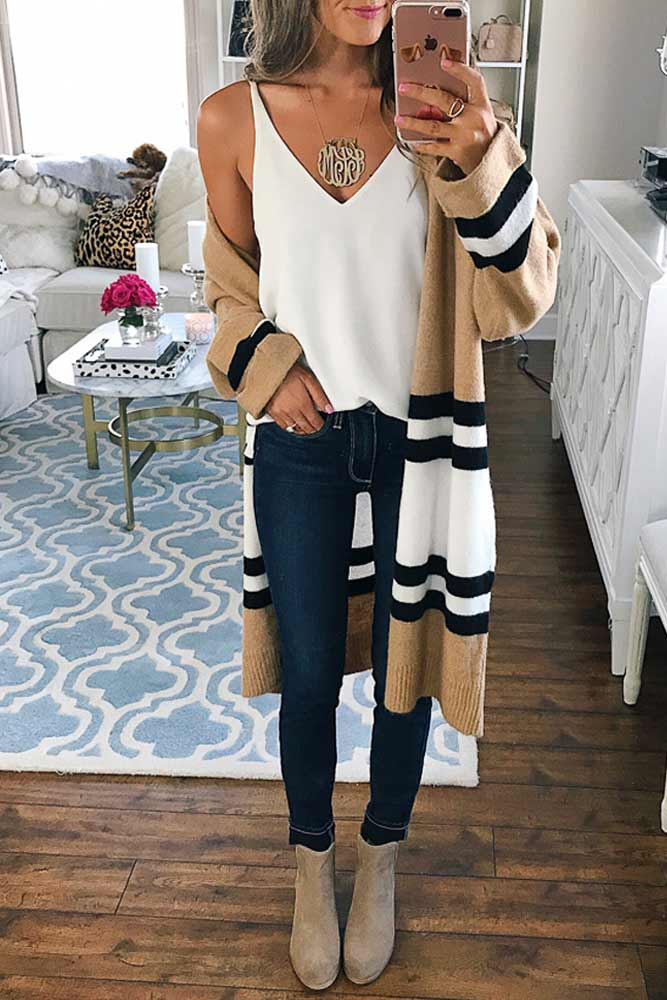 #fall #outfits / Stripes Cardigan - White Camisole