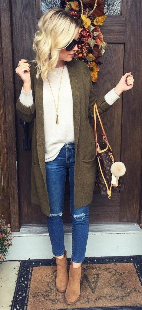 #fall #outfits / Dark Green Olive Cardigan - Ankle Booties