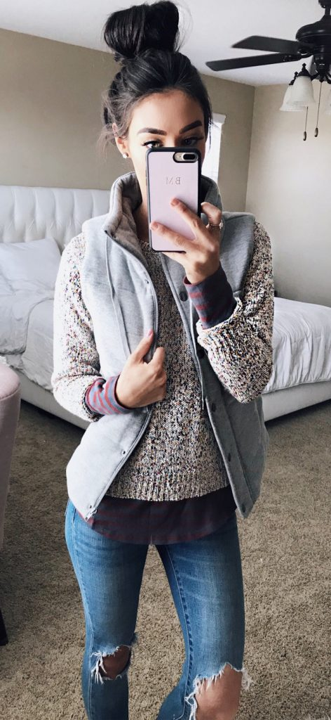 #fall #outfits / Grey Vest - Ripped Jeans
