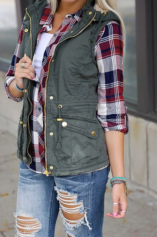 #fall #outfits / Green Vest - Red Plaid Shirt
