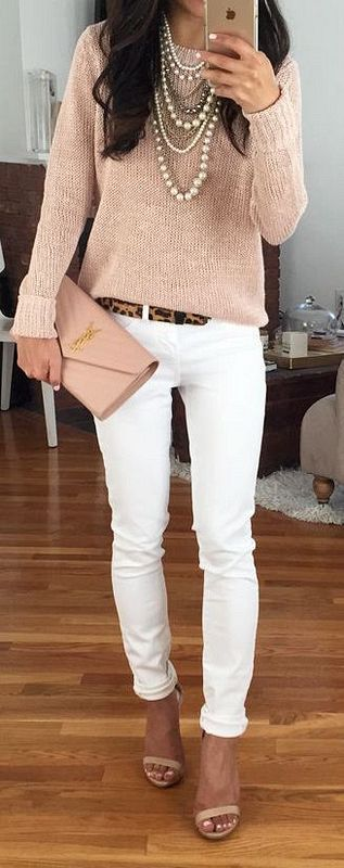 #fall #outfits / Beige Long Sleeve - White Jeans