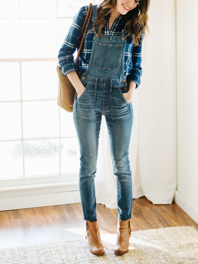 #fall #outfits / Plaid Shirt - Denim Overall