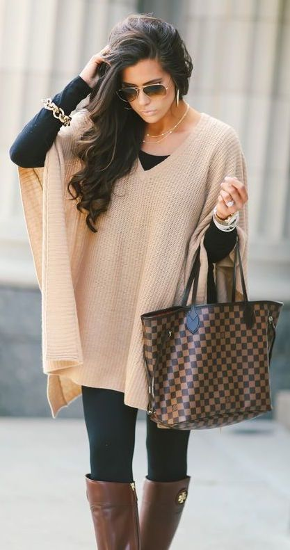 #fall #outfits / Beige Cashmere Poncho - Tall Boots