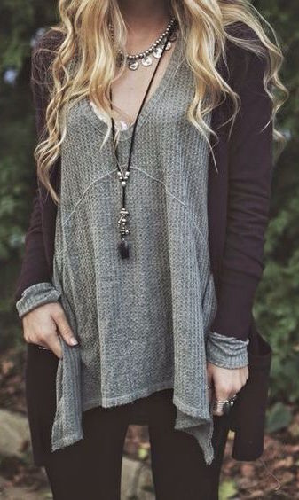 #fall #outfits / Cardigan - V-Neck Tunic