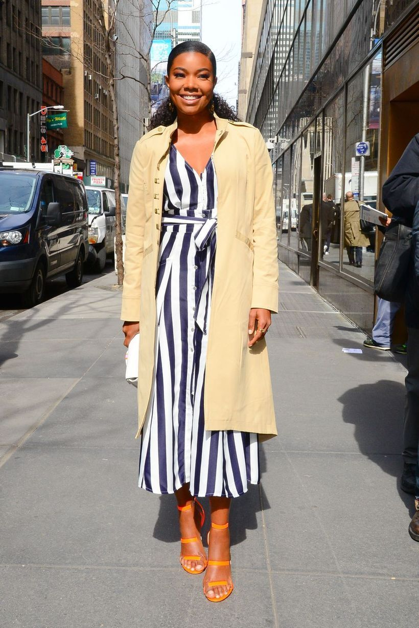 Beige outer with long stripped dress