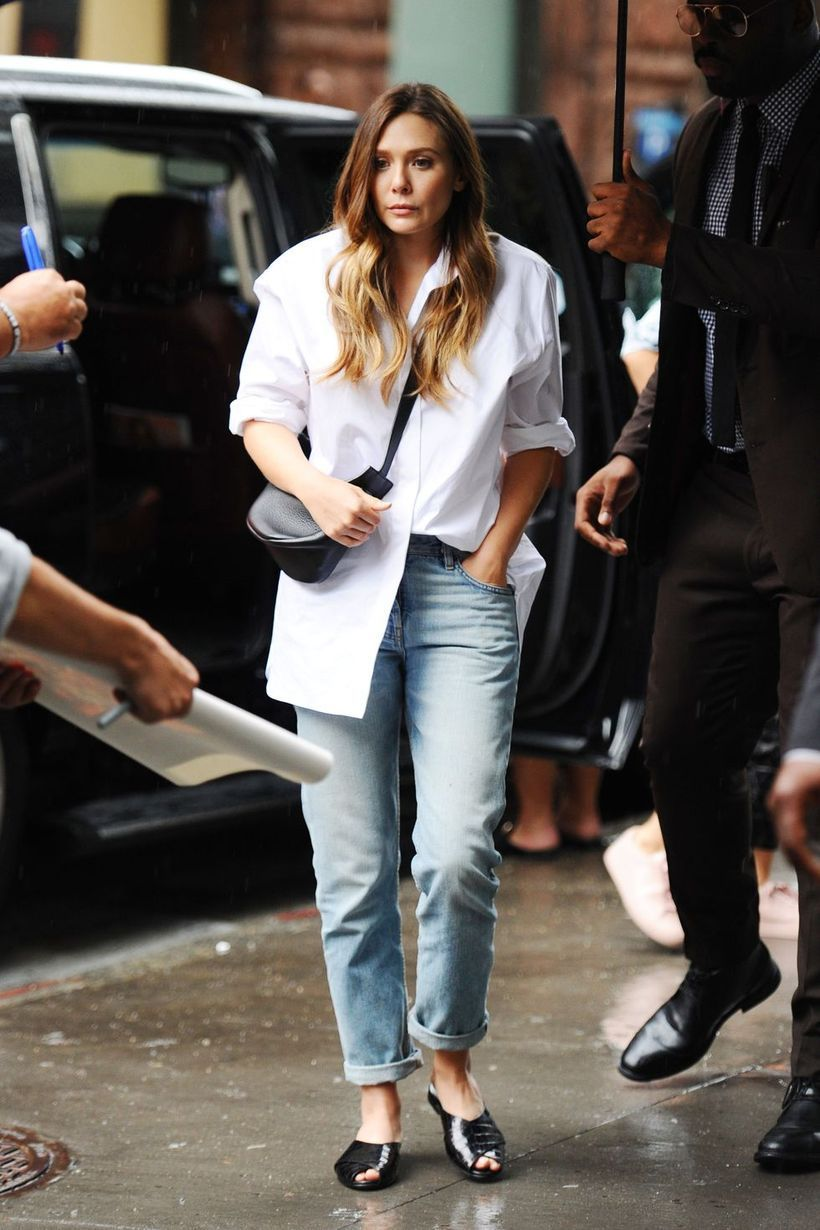 White shirt with denim pants and black shoes