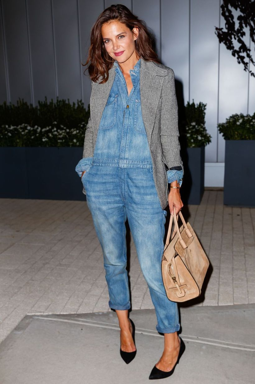 Gray outer with denim jumpsuit and black flat shoes