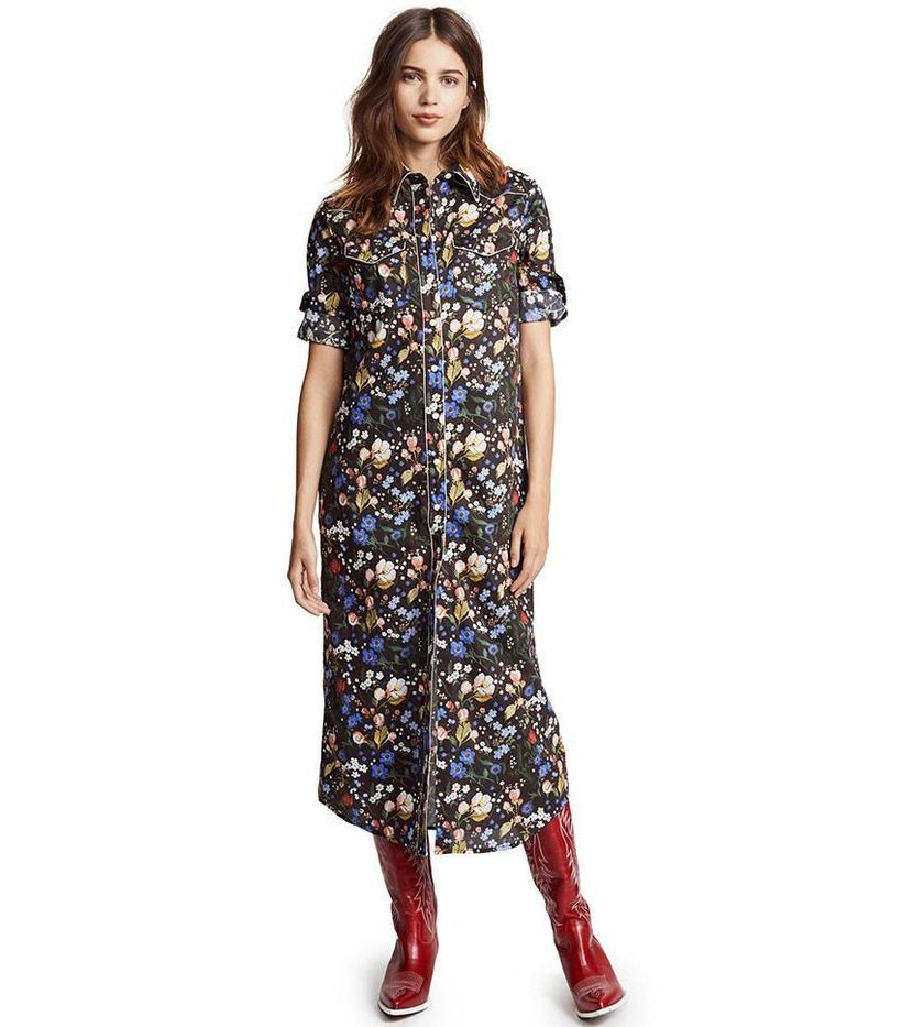 Long pattern flowers dress and red boots