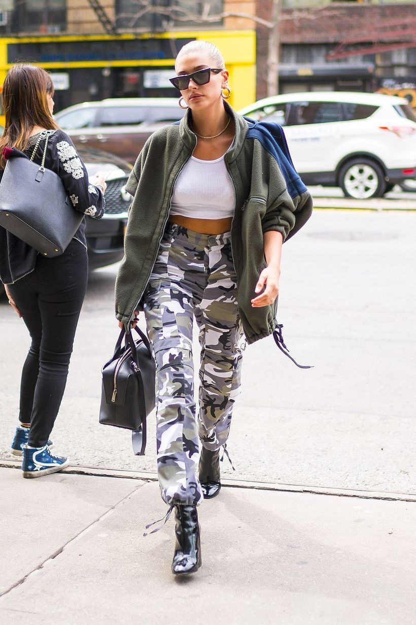 Black leather jacket with army pants and black pants